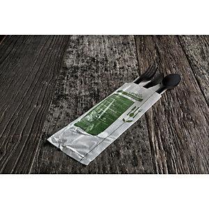 usobio® Busta forchetta, cucchiaio e coltello monouso Bio & Compostabile in Mater-bi nero con tovagliolo monovelo 30 x 30 cm (confezione 350 pezzi)