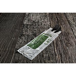 usobio® Busta forchetta e coltello monouso Bio & Compostabile in Mater-bi nero con tovagliolo monovelo eco 30 x 30 cm (confezione 400 pezzi)