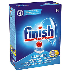 Vaatwasmachinetabletten lange cyclus Finish Calgonit Powerball Classic citroen, 68 tabletten