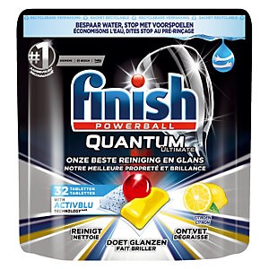 Vaatwasmachinetabletten lange cyclus Finish Calgonit Quantum citroen, 32 tabletten