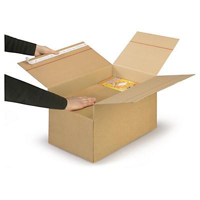 Variabox med automatbund og selvklæbende lukning - Enkelt bølgepap