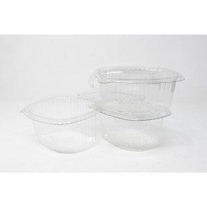 Vaschetta gastronomia ovale monouso in PET con coperchio cernierato, Riciclabile, Capacità 500 cc, Spessore 350 my, Trasparente (confezione 450 pezzi)