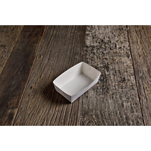 Vaschetta monouso in cartoncino bio, 12 x 7 x 4,5 cm, Bianco (confezione 250 pezzi)