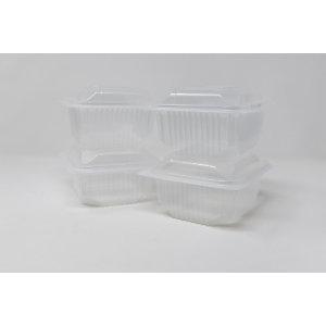 Vaschetta monouso in PP con coperchio cernierato, Riciclabile, Capacità 500 cc, Spessore 500 my, Trasparente (confezione 600 pezzi)