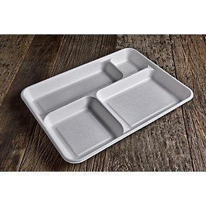 Vassoio rettangolare  4 scomparti monouso in bagassa bio&compostabile, cm 37 x 27 x 4 h, Bianco (confezione 320 pezzi)