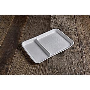 Vassoio rettangolare  biscomparto monouso in bagassa bio&compostabile, cm 27 x 18 x 2 h, Bianco (confezione 320 pezzi)