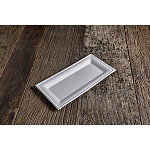 Vassoio rettangolare  monouso in bagassa bio&compostabile, 26 x 13 cm, Bianco (confezione 500 pezzi)