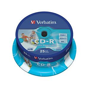 Verbatim AZO CD-R 700 MB / 80 minuti, Stampabili, Velocità 52x, Spindle da 25 dischi