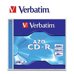 Verbatim AZO CD-R 700 MB / 80 minuti, Velocità 52x, Confezione da 10 con custodia trasparente
