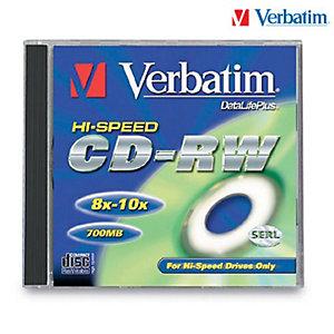 Verbatim CD-RW 700 MB 12x, Confezione da 10 con custodia trasparente