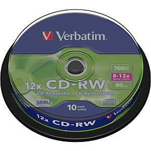 Verbatim Discos vírgenes CD-RW, regrabables, 700 MB / 80 min, velocidad de escritura de 12x