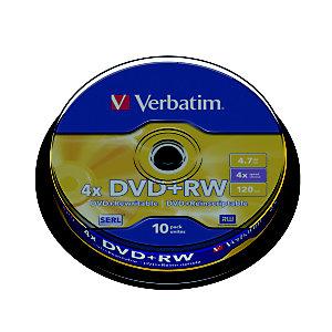 Verbatim Discos vírgenes DVD+RW, regrabables, 4,7 GB / 120 min, velocidad de 4x