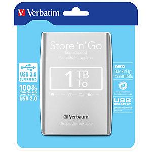 """Verbatim Disque dur portable USB Store 'n' Go 3.0, 1 To, Argenté, 1000 Go, 2.5"""", 3.2 Gen 1 (3.1 Gen 1), Argent 53071"""