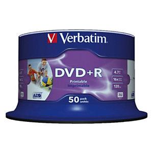 Verbatim DVD+R 4,7 GB / 120 minuti, Stampabili, Velocità 16x, Spindle da 50 dischi