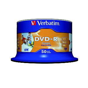 Verbatim DVD-R 4,7 GB / 120 minuti, Stampabili, Velocità 16x, Spindle da 50 dischi