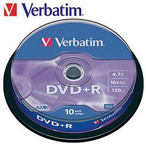 Verbatim DVD+R 4,7 GB / 120 minuti, Velocità 16x, Confezione da 10 con custodia sottile