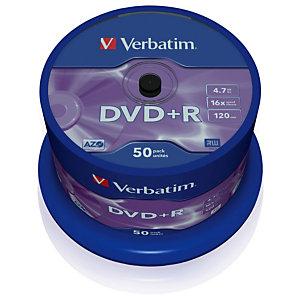 VERBATIM DVD+R 4.7 GB 16 X Spindle (paquet 50 unités)