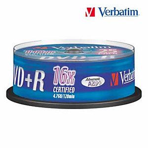 Verbatim DVD+R Disco DVD grabable, 4,7GB (120 minutos), velocidad 16x, plata mate, spindle