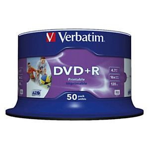 Verbatim DVD+R vierge Azo, 4,7 Go / 120 min, transfert de données vitesse 16 X