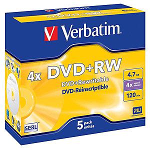 Verbatim DVD+RW 4,7 GB / 120 minuti, Riscrivibili, Velocità 4x, Confezione da 5 con custodia trasparente