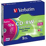 Verbatim Hi-Speed Colour, Discos vírgenes CD-RW, regrabables, 700MB / 80min, velocidad de escritura de 12x