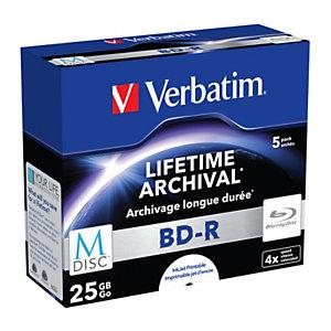 Verbatim MDISC BD-R Blu-Ray vírgenes grabables de 25 GB, 4x de velocidad Paquete de 5 unidades con carcasa protectora