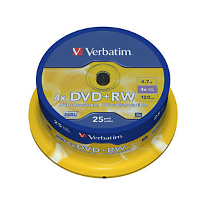 Verbatim - Scatola 25 DVD+RW - serigrafato Spindle - 43489 - 4,7GB