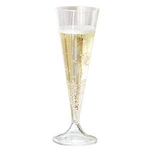 Verres à champagne, en plastique transparent, 13 cl, colis de 200