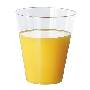 Verres à jus de fruits, en plastique transparent, 20 cl, colis de 60