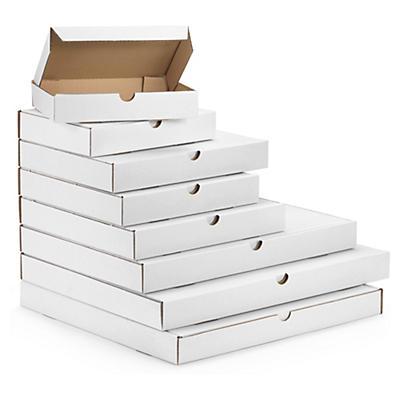 Boîte postale blanche extra-plate en carton##Versandkarton Flach-Pack weiss