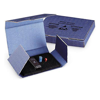 Étui carton blindé avec mousse noire conductrice##Versandkarton mit elektrisch leitfähigem Steckschaum