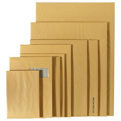 Pochette brune à dos en carton##Versandtaschen mit Papprückwand  braun