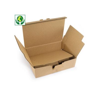 Versterkte A4 postdoos met automatische bodem, bruin enkelgolfkarton