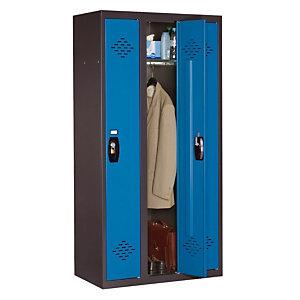 Vestiaire Avantage - Industrie propre - 3 colonnes - Corps Anthracite - Portes Bleu
