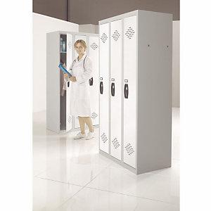 Vestiaire Avantage - Industrie propre - 3 colonnes - Corps Gris - Portes Blanc