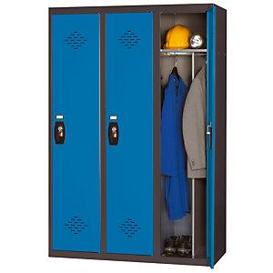 Vestiaire Avantage - Industrie salissante - 3 colonnes - Corps Anthracite - Portes Bleu
