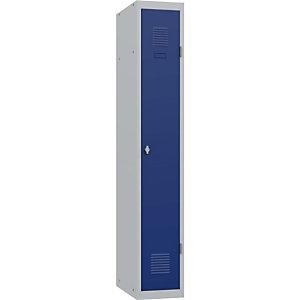 Vestiaire métal Budget industrie propre 1 colonne L 30 cm - Élément Départ - Corps Gris Portes Bleues