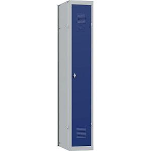 Vestiaire métal Budget industrie propre 1 colonne L 30 cm - Élément Suivant - Corps Gris Portes Bleues