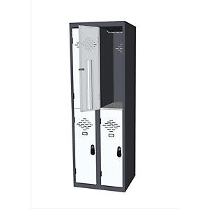 Vestiaire multi-casiers Avantage - 2 casiers - 2 colonnes - Corps Anthracite - Portes Gris