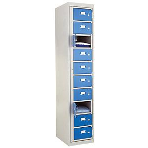 Vestiaires à linge propre monoblocs 10 cases gris / bleu