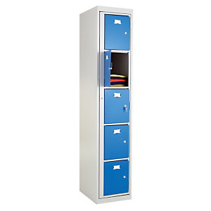 Vestiaires à linge propre monoblocs 5 cases gris / bleu