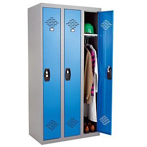 Vestiaires monobloc Confort Industrie propre 3 cases, toit plat, gris / bleu