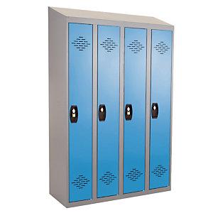 Vestiaires monobloc Confort Industrie propre 4 cases, toit incliné, gris / bleu
