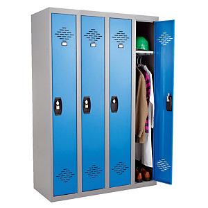 Vestiaires monobloc Confort Industrie propre 4 cases, toit plat, gris / bleu