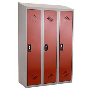 Vestiaires monobloc Confort Industrie salissante 3 cases, toit incliné, gris / rouge