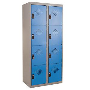 Vestiaires Multicases monoblocs 2 colonnes 4 cases gris / bleu