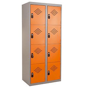 Vestiaires Multicases monoblocs 2 colonnes 4 cases gris / orange