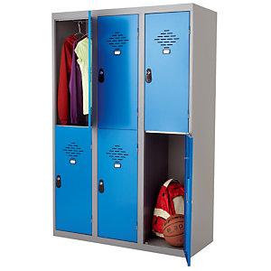 Vestiaires Multicases monoblocs 3 colonnes 2 cases gris / bleu largeur 300 mm