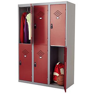 Vestiaires Multicases monoblocs 3 colonnes 2 cases gris / rouge largeur 400 mm