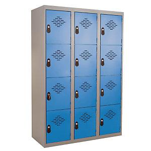 Vestiaires Multicases monoblocs 3 colonnes 4 cases gris / bleu